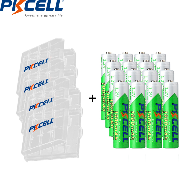 PKCELL 16pcs 1.2v Nimh Battery Aaa 1000mah Rechargeable Batteries Low Self Discharge And 4pcs Battery Box For AA AAA Battery