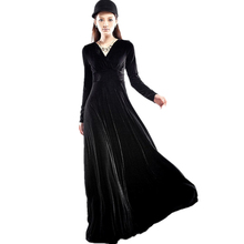 Velvet Maxi Dresses Women Plus Size Black Red Green Long Sleeve V Neck Party Pleated Dress Robe Femme Autumn Winter 2019