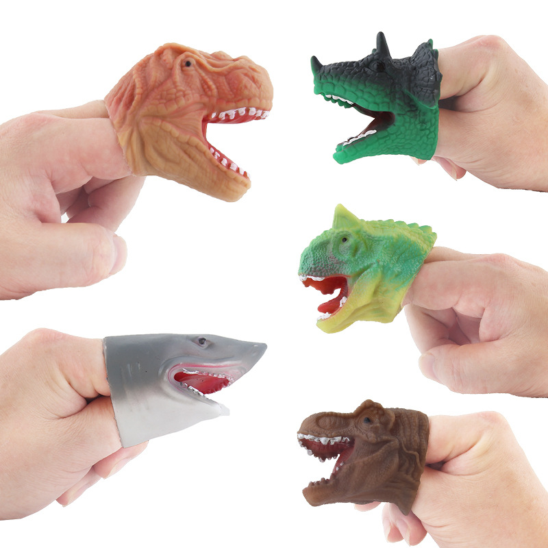 5pcs Silicone Mini Dinosaur Fingertips Tyrannosaurus Finger Puppets Action Figure Kids PVC Toy Classic Ancient Collection
