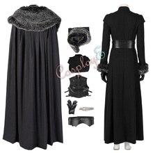 Sansa Stark костюм Игра престолов 8 Косплей роскошная версия черный наряд