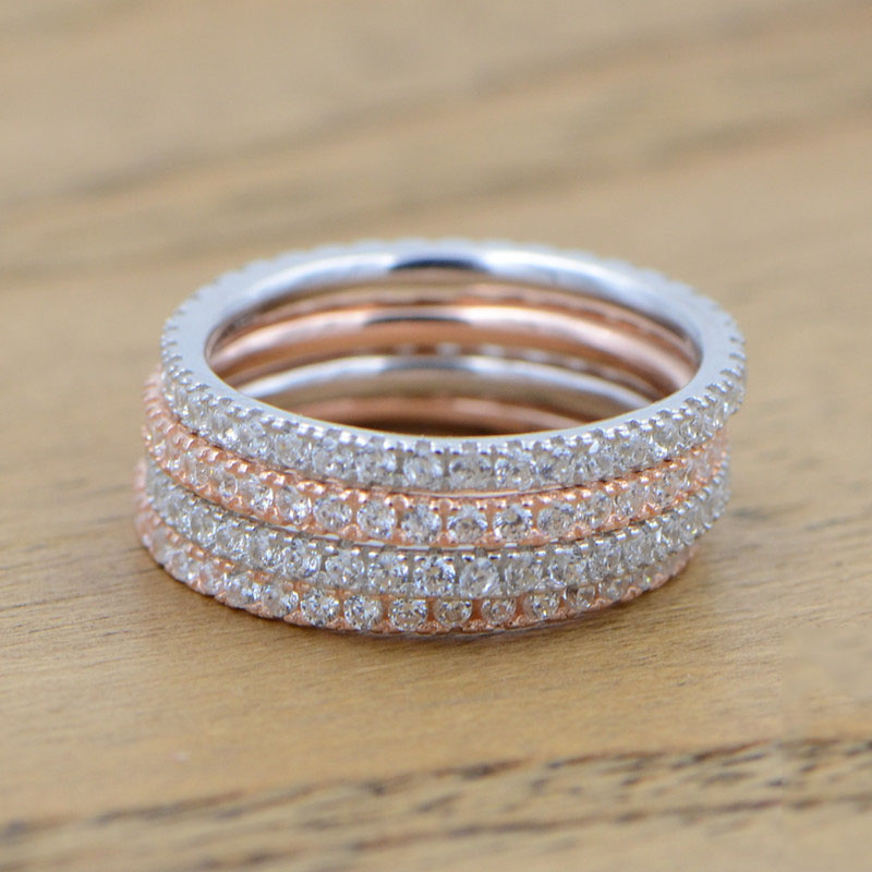 Real S925 sterling silver Rings for Women Simple Classic Wedding Ring with stamp exquisite cz Fashion Female Wholesale Jewelry(China)