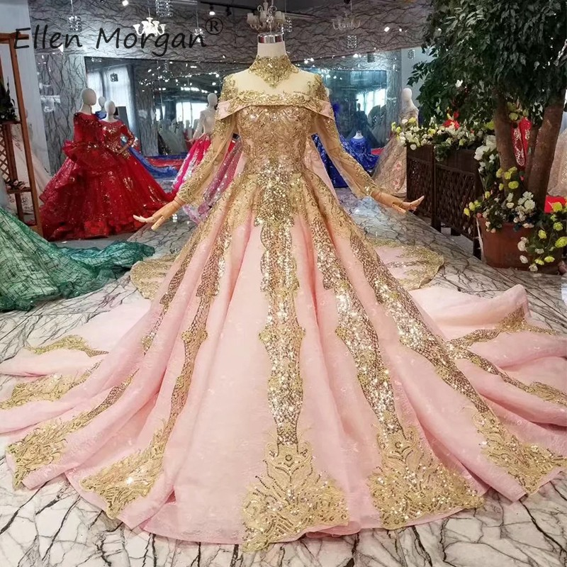 Muslim Vintage Pink Lace Ball Gown Wedding Dresses For Saudi Arabian 2019 Elegant Glitter Gold Long Sleeves High Neck With Shawl