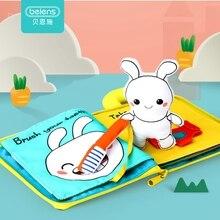 Beiens 3D ściereczka książki dla dzieci zwierzęta i pojazdy Montessori zabawki dla małych dzieci rozwój inteligencji zabawki edukacyjne prezenty