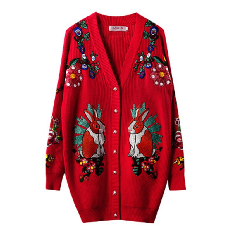 Brand Designer Christmas Sweater Women 2019 Winter V Neck Embroiderey Rabbit Tiger Flowers Luxury Knit Long Cardigans Red Coat