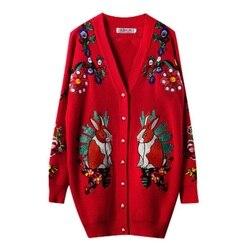 Merk Designer Kerst Trui Vrouwen 2019 Winter V-hals Embroiderey Konijn Tijger Bloemen Luxe Gebreide Lange Vesten Rode jas
