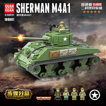 726PCS US Military Sherman M4A1 Tank Building Blocks Military WW2 Tank Officer Soldier Weapon Army Bricks Kids Toys For children