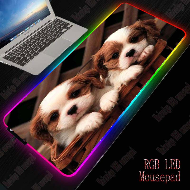 XGZ Cute Dogs RGB Gaming Large Mouse Pad Gamer Led Computer Mousepad Big Mouse Mat With Backlight Carpet Keyboard Desk Mat Mause