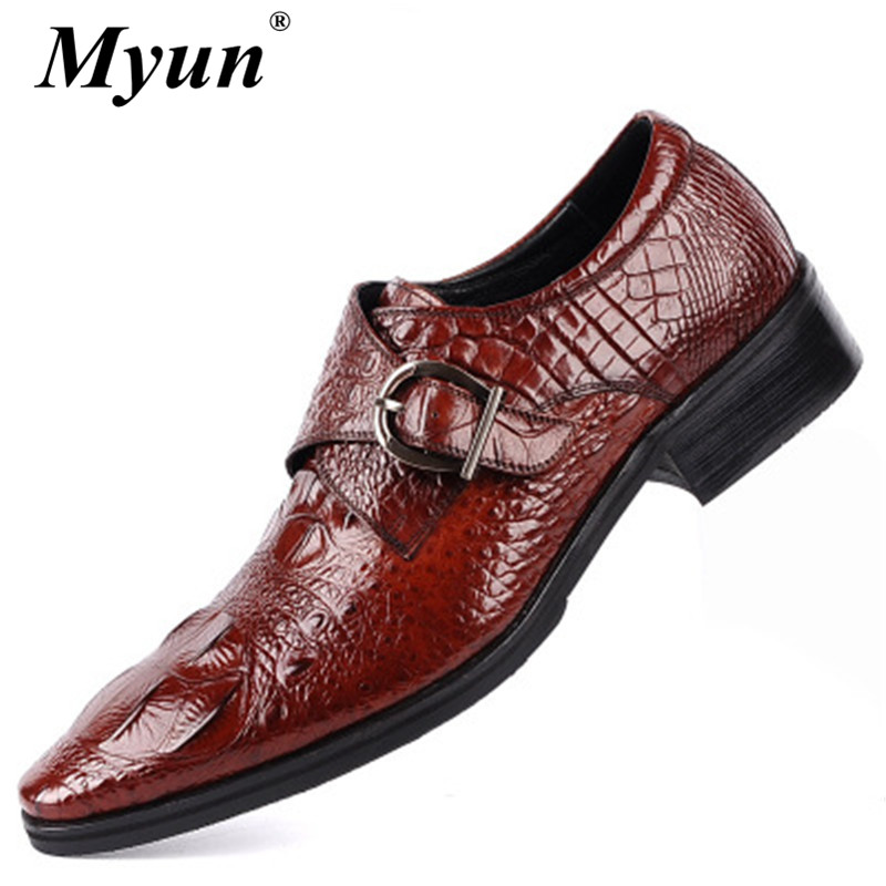 Belt-Buckle Dress Oxford-Shoes Brogues Genuine-Leather Mens High-Quality Black Metal