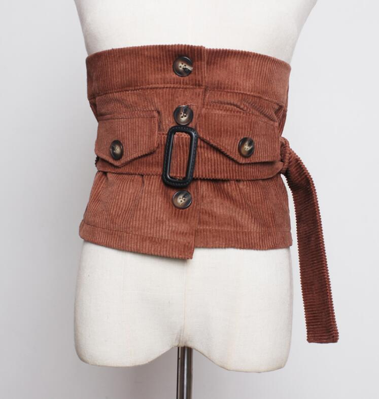 Women's Runway Fashion Corduroy Cummerbunds Female Dress Corsets Waistband Belts Decoration Wide Belt R2247