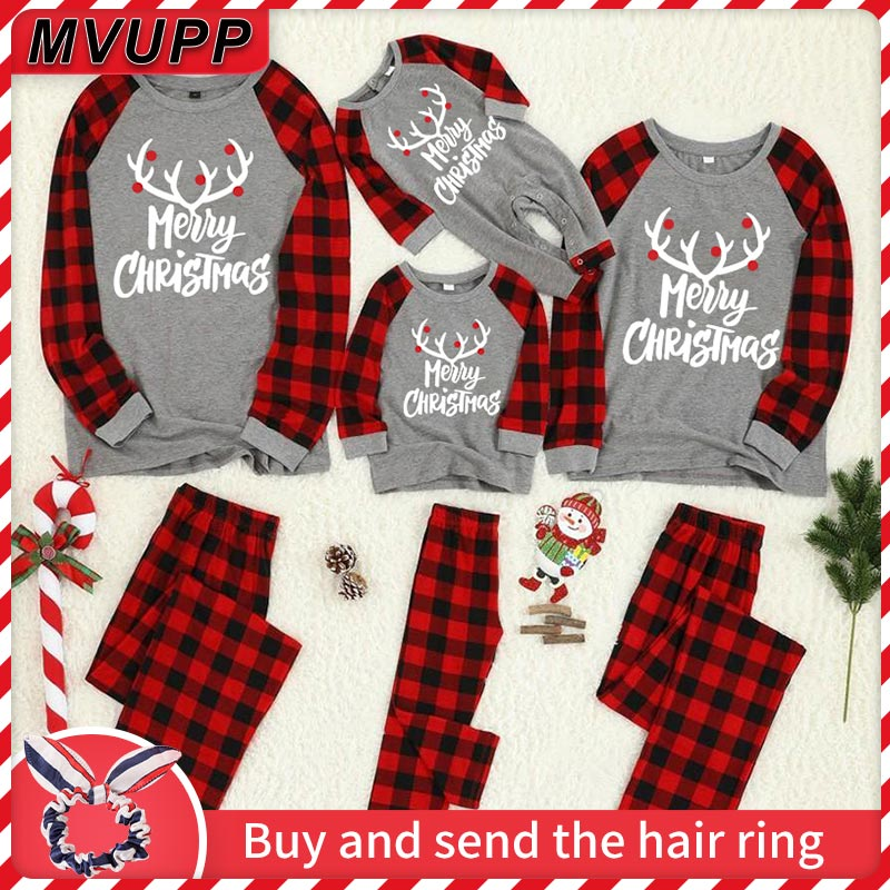 Reindeer Family Christmas Matching Pajamas Plaid Clothes For Dad Mommy Baby Girl Boy Children Set Adult Sleepwear Look New Year