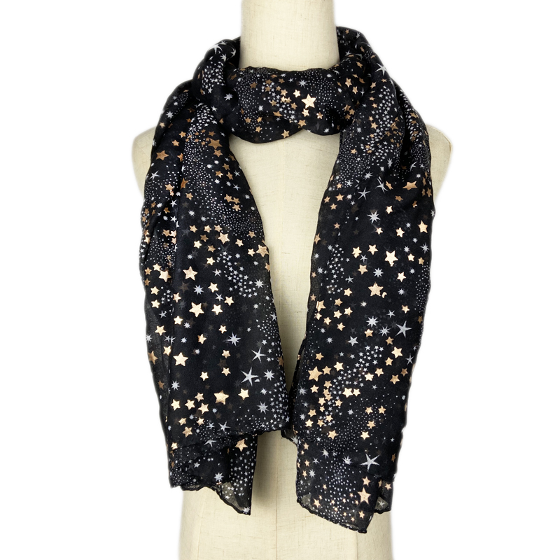 Women Fashion Scarf Bronzing Gold Star Scarves For Lady Pashmina Long Size Foulard Bandana Hijabs Scarfs Neck Shawls Wraps