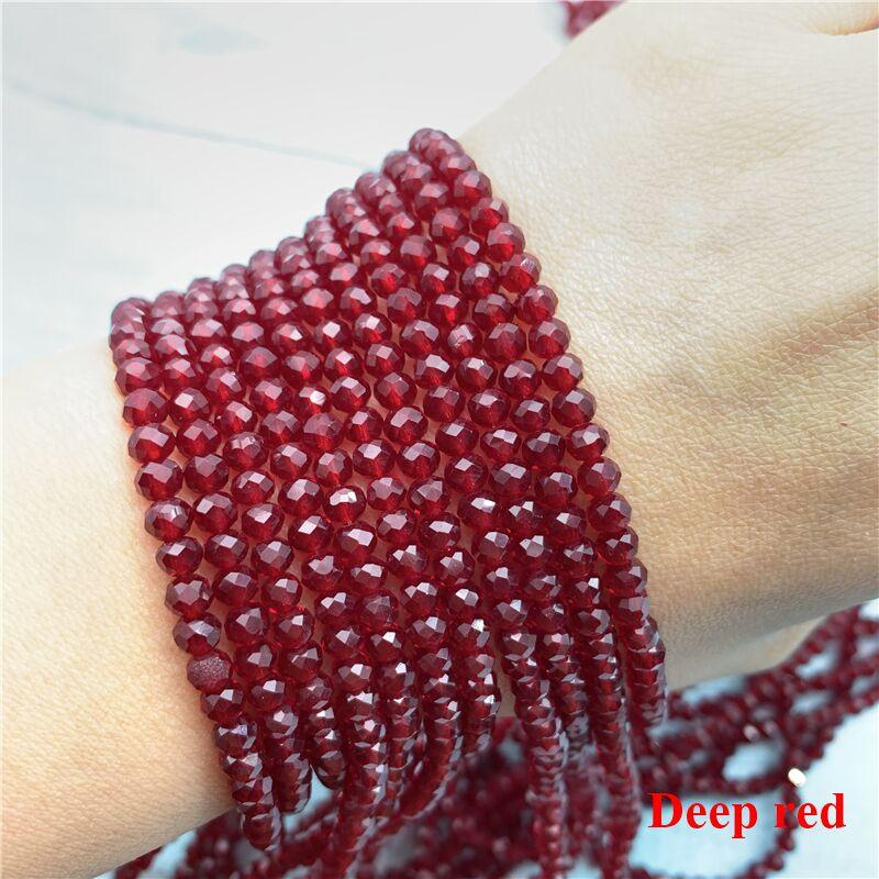 40 цветов 1 нить 2X3 мм/3X4 мм/4X6 мм хрустальные бусины rondelle хрустальные бусины стеклянные бусины для самостоятельного изготовления ювелирных изделий - Цвет: Deep Red