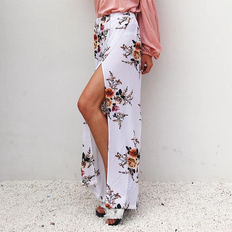 Elastic Plus Women High Waist Loose Wide Pants 2020 Waist Leg Breathable Floral Chiffon Casual Summer Long Maxi Size Print Pants