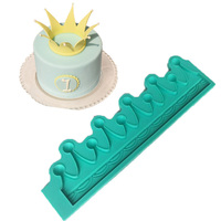LHX Crown Shape Silicone Mold Fondant Cake Decoration Mould Prince Princess Child Birthday Cake Crown Decoration Mould HP1113 D