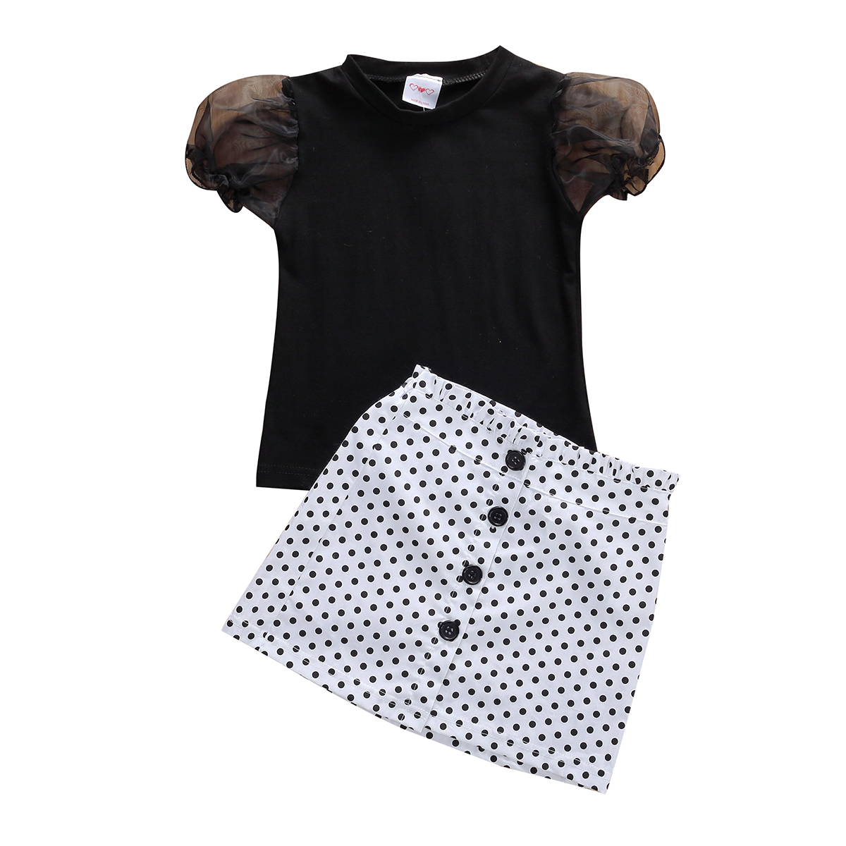 Toddler Kids Baby Girl 1T-6T Clothes Puff Sleeve Tops T-Shirt Skirt Mini Dress Outfits