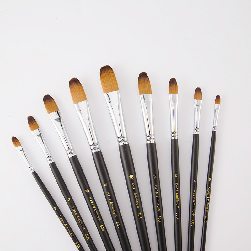 9Pcs/Set Paint By Numbers Brushes Watercolor Gouache Paint Brushes Different Shape Round Pointed Tip Nylon Hair Art Supplies