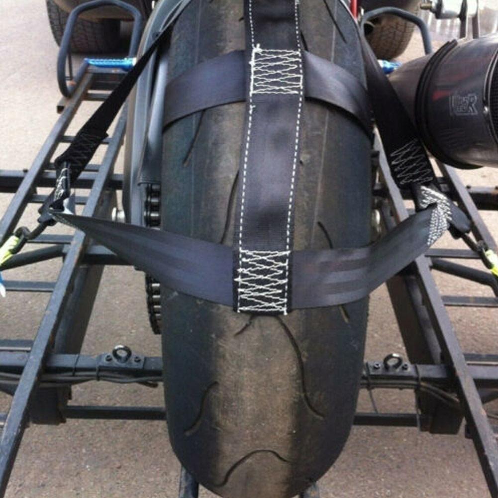 Universal Black Motorbike Transportation Tie-Down Polyester Motorcycle Rear Wheel Fixing Fastening Webbing Belt Strap