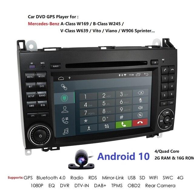 Android10.0 2Din 7 אינץ לרכב נגן DVD עבור מרצדס/בנץ/אצן/W209/W169/ותאנה/ויטו/B200 2GRAM 4 3GWIFI GPS ניווט רדיו מצלמת