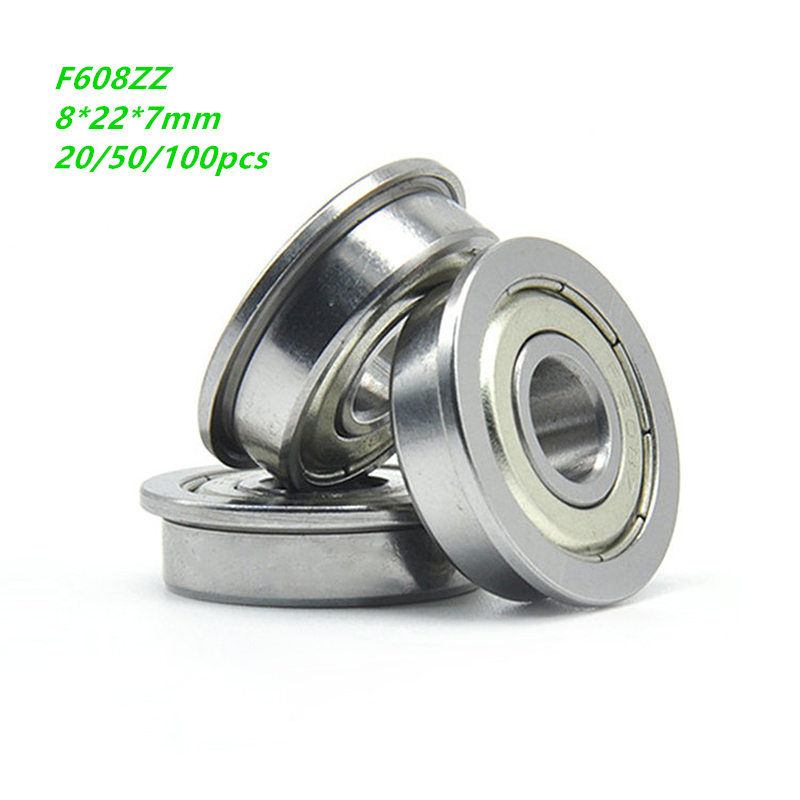 20/50/100pcs <font><b>F608ZZ</b></font> F608Z F608 Z ZZ F608-ZZ 8x22x7mm Double cover Miniature Flanged Deep Groove Ball Bearin 8*22*7mm image