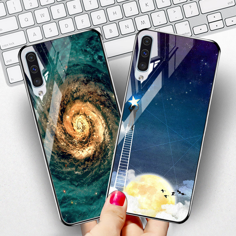 Tempered <font><b>Glass</b></font> <font><b>Case</b></font> SFor <font><b>Samsung</b></font> Galaxy A50 A70 <font><b>A40</b></font> A30 A20 A60 A10 A80 A90 5G A50s A20s A10s <font><b>Case</b></font> <font><b>Samsung</b></font> A7 2018 A8 Plus Cover image