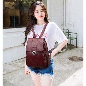 Image 5 - 2019 femmes sac à dos femme haute qualité en cuir sac décole pour les adolescentes voyage sac à dos sacs à dos dames sacs à bandoulière