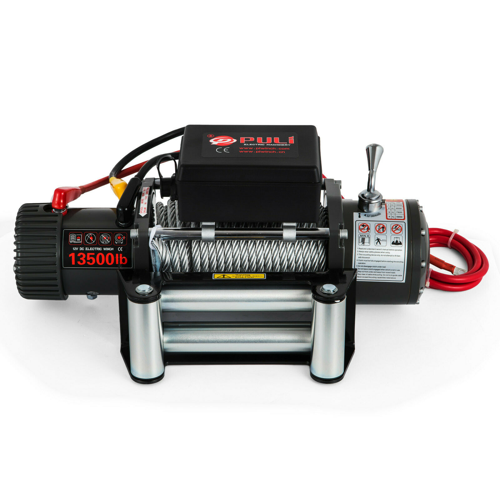 Recovery Electric Winch 12v 13500lbs Truck Trailer Rope Remote Control Heavy Duty Steel Cable With 4x4 Car