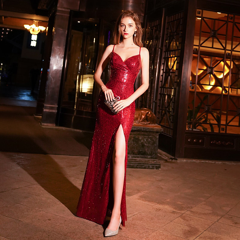Suspender Sequin Evening Dress Women 2020 New Banquet Noble Temperament Celebrity Long Style Gas Field Slim Autumn