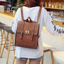 цена на Vintage Women Backpack Pu Leather Backpacks For Teenage Girls School Shoulder Bag Bagpack F42A