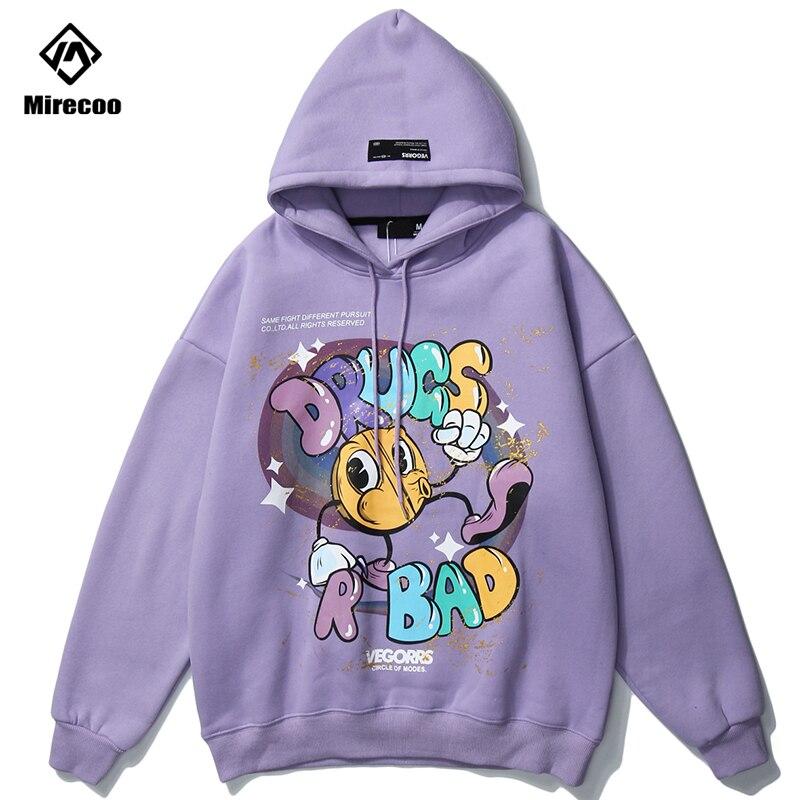 Cartoon Print Hooded Sweatshirts Hoodies Streetwear Harajuku Hip Hop High Quality Pullover Hooded Tops 2020 Casual New Hoodie