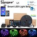Светодиодный светильник Sonoff L1  2 м/5 м  Светодиодная лента с регулируемой яркостью  с дистанционным управлением  гибкий 12 В  умный светодиодны...