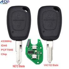 مفتاح السيارة عن بعد لرينو ، التحكم في حركة المرور ، Vivaro Movano Kangoo ، 433MHz ، ID46 ، PCF7946 ، رقاقة غير مصقولة ، شفرة NE72/VAC102