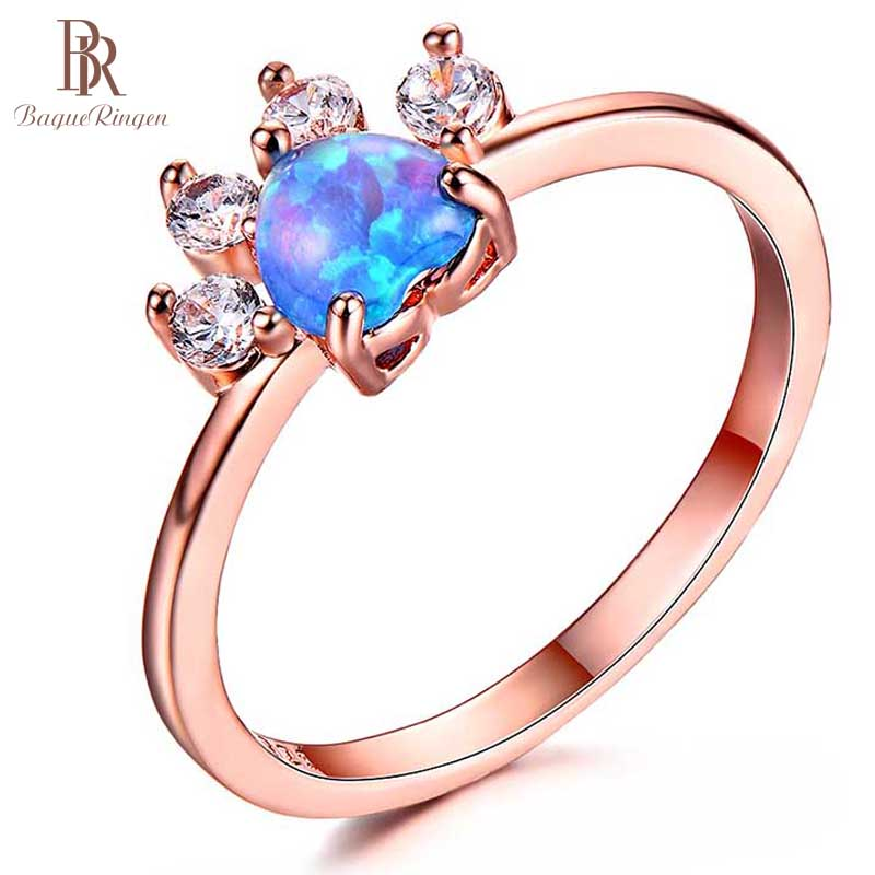 Ring Opal Gift Fashion Jewelry Wedding-Party 925-Silver Women for Filled Colorful Female