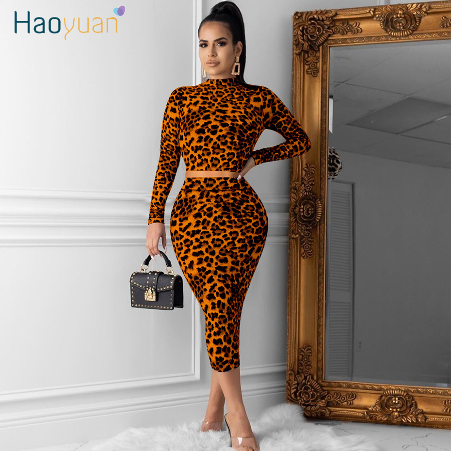 HAOYUAN Leopard Two Piece Skirt Set Women Fall Festival Clothing Crop Top And Midi Skirt 2 Piece Matching Sets Sexy Club Outfits