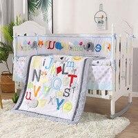 7PCS Baby bedding set English alphabet Baby bumper crib bedding set Crib Protect kit de berço(4bumper+duvet+bed cover+bed skirt)