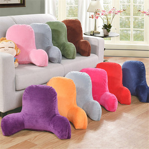 Plush Big Backrest Back Cushion Reading Rest Pillow Lumbar Support Chair Cushion with Arms Seat Cushion Massage Pad Sofa Pillow