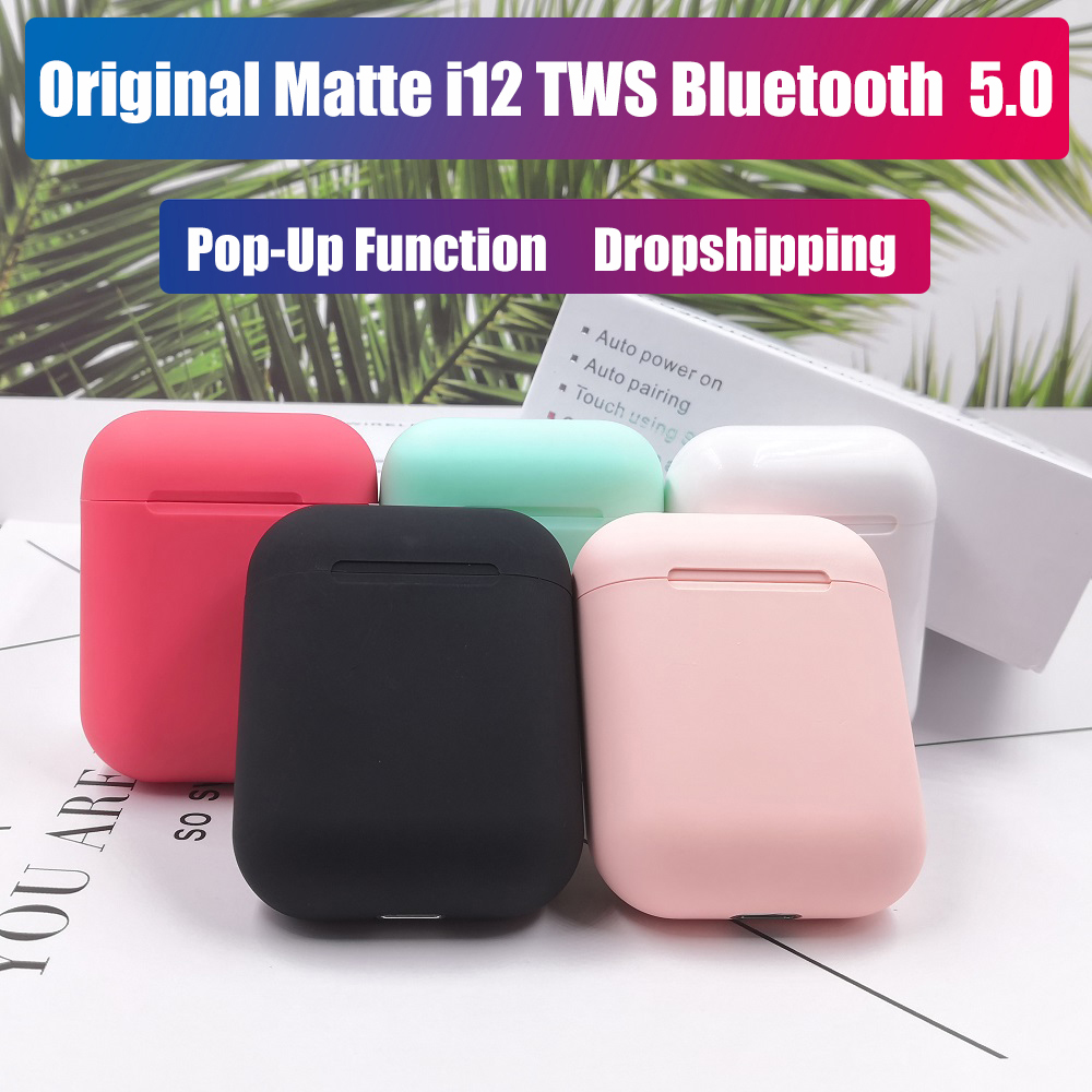 Matte <font><b>i12</b></font> <font><b>tws</b></font> Pop up <font><b>Earphones</b></font> Original <font><b>Bluetooth</b></font> <font><b>5.0</b></font> <font><b>Headphones</b></font> <font><b>Wireless</b></font> Earbuds Headsets Touch Control Sport Stereo Earpieces image