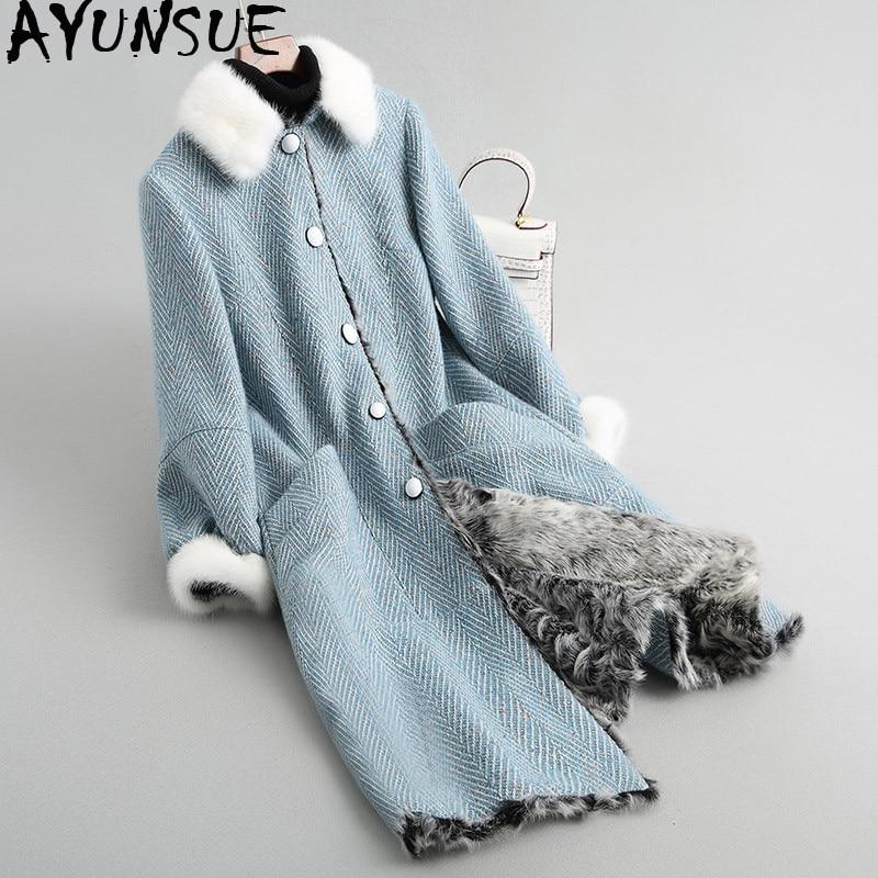 AYUNSUE Real Fur Coat Female Mink Fur Collar Woolen Coats Winter Jacket Women Natural Lamb Fur Tweed Coat Korean Outerwear MY