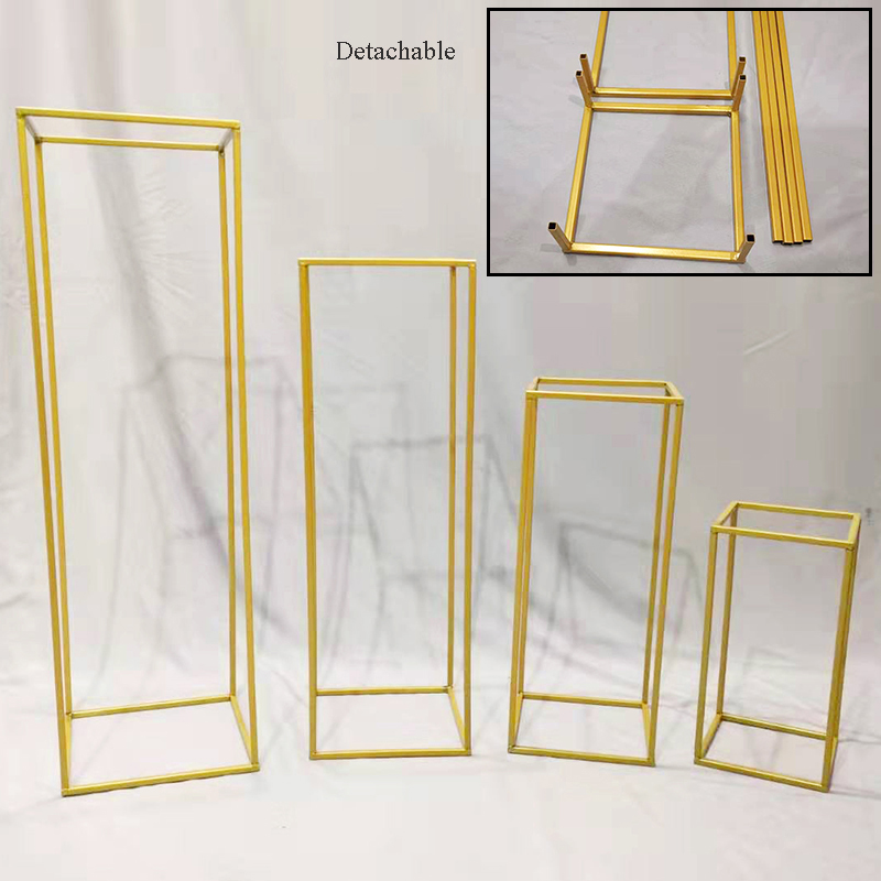 Wrought iron geometric rectangular frame wedding party table centerpiece road lead artificial flowers backdrop stand decoration-in Wedding Arches from Home & Garden    1