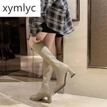 2021 Модные женские высокие сапоги на высоком квадратном каблуке