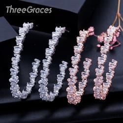 Threegraces irregular baguette cz cristal 925 prata esterlina grande rosa ouro hoop círculo brincos para senhoras dança festa er115