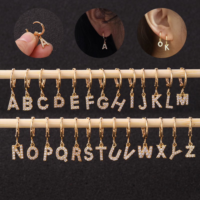 1pc Creative Cz 26 English Letters Stud Piercing Earrings Stainless Steel Zircon Ear Bone Small Hoop Initial Cartilage Jewelry