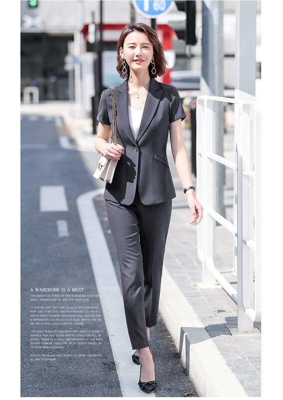 Female Elegant Formal Office Work Wear Summer Formal Women Pants Suits Grey Blazer and Jacket Sets Ladies Clothes Short Sleeve