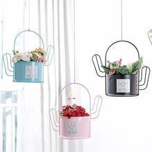 Nordic minimalist cactus flowerpot shelf desktop decoration creative succulent potted handle iron flower bucket plant pot stand