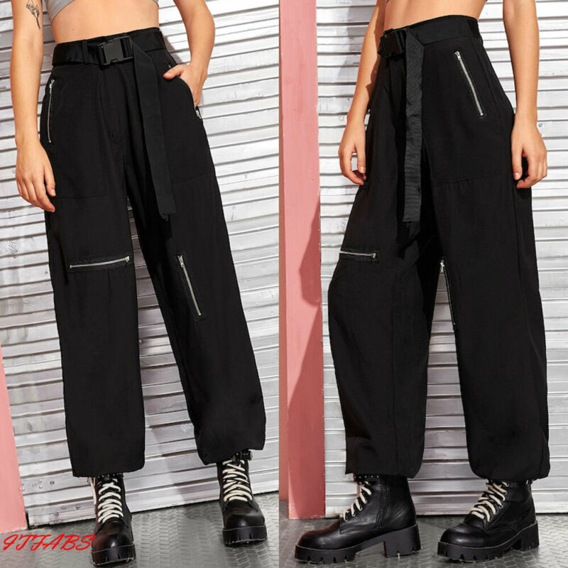 Nuevo estilo novio Cargo Pantalones mujer negro ancho holgado pantalones de combate Cargo holgado pantalones overoles con cinturón