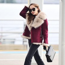 Winter Female Jacket Real Faux Fur Coat Women Clothes 2019 Korean Fashion Thick Faux Leather Jackets + Fur Collar 20090(China)