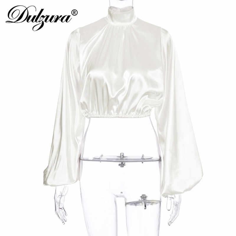 Dulzura ซาตินผู้หญิง Crop TOP เสื้อแขนยาว Elegant เสื้อคอเต่าหลวม Hollow OUT PARTY 2019 ฤดูใบไม้ร่วงฤดูหนาวเสื้อผ้าสำนักงาน