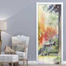 Drucken Kunst Bild 3D Tür Aufkleber 2 Pcs DIY Baum Seascape Hause Decor Aufkleber Selbst Klebe Wasserdichte Wandbild Für Schlafzimmer renovierung