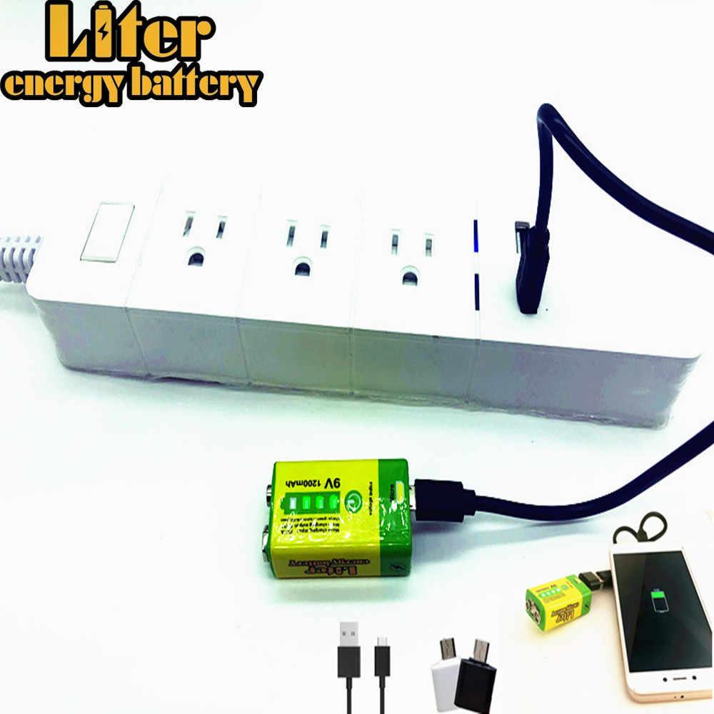 6F22 マイクロ USB 9V 1200mAh 充電式リチウムイオンバッテリー煙警報ワイヤレスマイクギター EQ インターホンマルチメータ