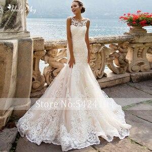 Image 2 - Adoly Mey Romantic Scoop Neck Tank Sleeve Mermaid Wedding Dresses 2020 Luxury Appliques Court Train Vintage Bride Gown Plus Size