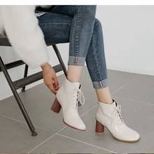 Nice Round Toe Ankle Boots For Women Lace Up Black Color Female Boots Warm Fur Plush Insole Classic Style Women Shoes(China)